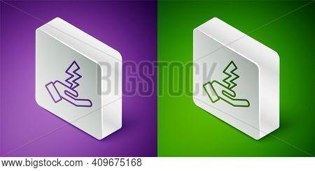 Isometric Line Zeus Icon Isolated On Purple And Green Background. Greek God. God Of Lightning. Silve