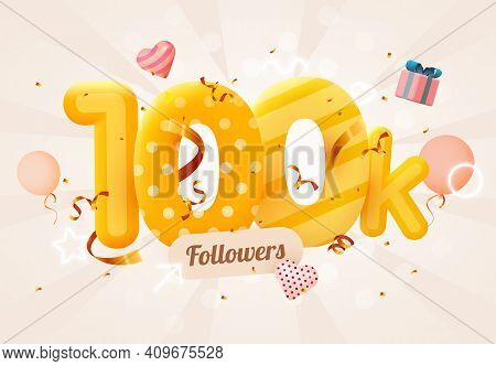 100k Or 100000 Followers Thank You Pink Heart, Golden Confetti And Neon Signs. Social Network Friend