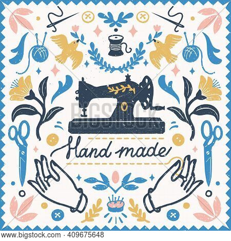Handmade Symmetric Vector Composition - Vintage Elements In Stamp Style And Sewing Machine With Hand