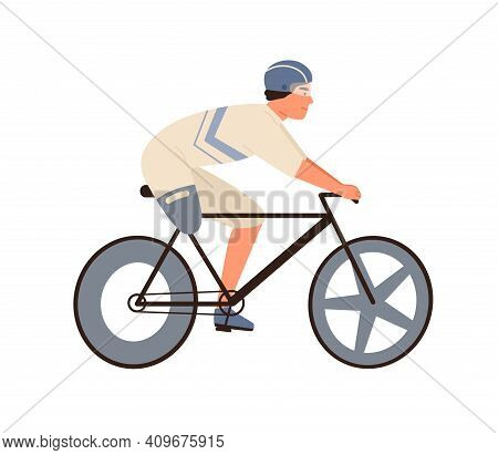 Male Disabled Athlete With Amputated Leg Ride On Bike Vector Flat Illustration. Sportsman Cyclist In