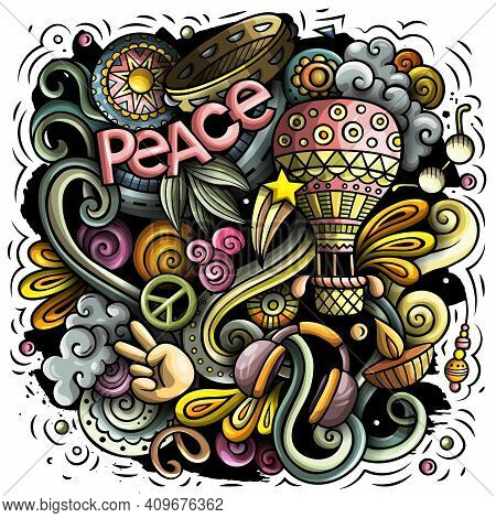 Hippie Vector Doodles Illustration. Hippy Design. Young People Elements And Objects Cartoon Backgrou