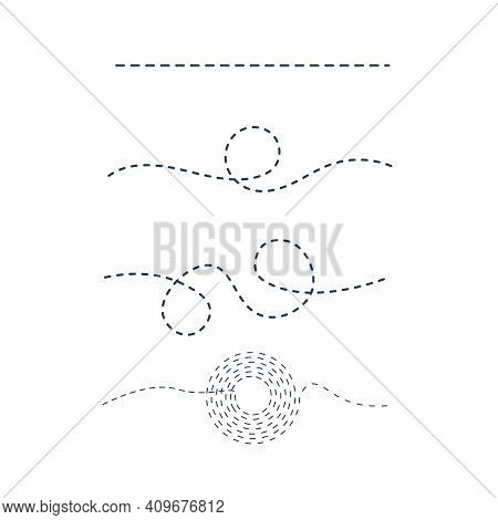 Dashed Or Dotted Path Track Lines And Curved Lines. Stock Vector Illustration Isolated