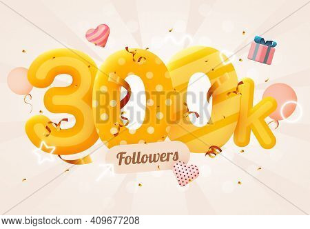 300k Or 300000 Followers Thank You Pink Heart, Golden Confetti And Neon Signs. Social Network Friend