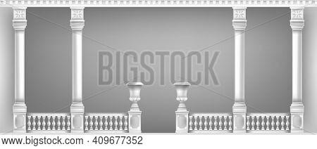 Classic Marble Pillars, Vases, Vector Terrace White Balcony, Palace Balustrade Background, Handrails