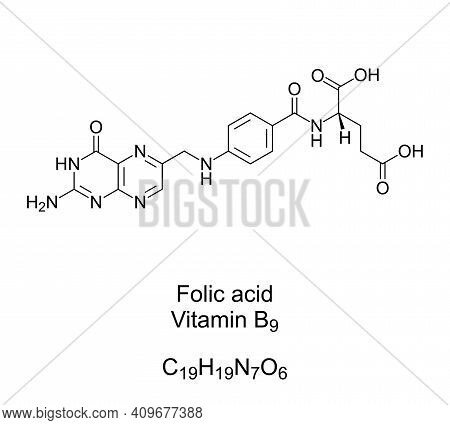 Folic Acid, Vitamin B9, Chemical Formula And Structure. Converted By The Body To Folate. Used As Die