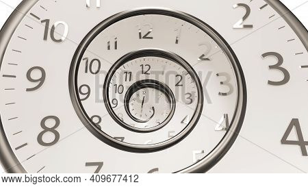 3D Rendering Classic Vintage Round Clock Spinning forward or backwards with infinity time. Golden Classic Round Clock with time hands turn backward infinity. Antique clock face.