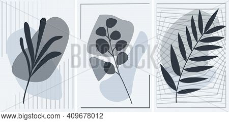 Interior Set Of Abstract Geometric Posters With Botany Grey
