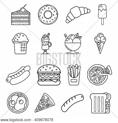 Food Icons Isolated On White Background. Set Of Simple Icons Of Fast Food, Street Food. Black And Wh