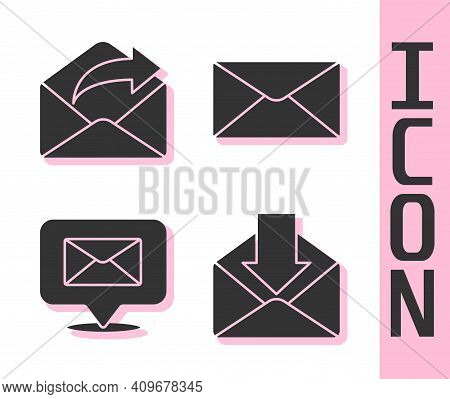 Set Envelope, Outgoing Mail, Speech Bubble With Envelope And Envelope Icon. Vector