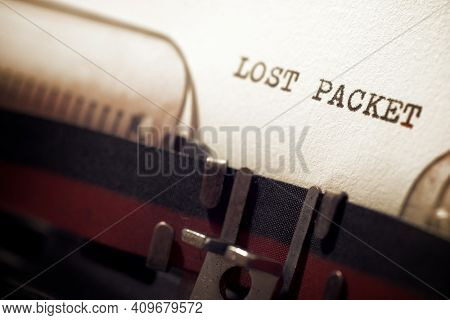 Lost packet phrase written with a typewriter.