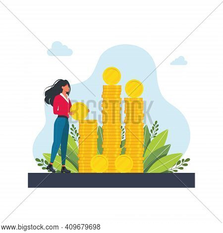 Happy Successful Character With A Pile Of Coin. Financial Well-being. A Woman Puts A Coin On A Large