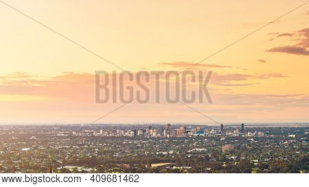 Spectacular View Of Adelaide City Skyline At Dusk Viewed From The Adelaide Hills