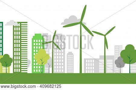 Ecology Town Concept And Environment With Eco-friendly Ideas, Vector Illustration