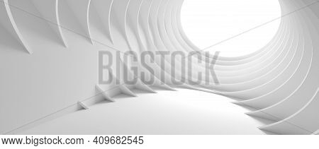 Abstract Architecture Background. 3d Illustration Of White Circular Building. Modern Geometric Wallp