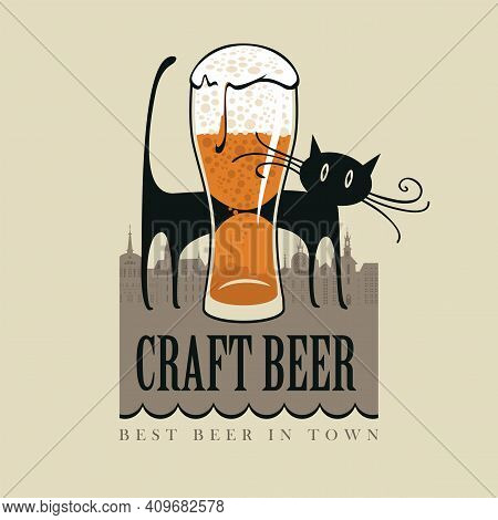 Vector Banner For Craft Beer With An Overflowing Glass Of Frothy Beer And A Funny Black Cat On The B