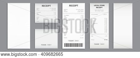 Cash Receipt On Clipboard, Purchase Bill Invoice, Supermarket Shopping Retail Sum Check And Total Co