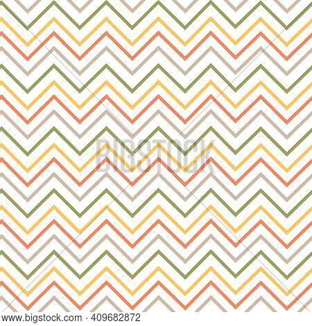 Chevron Seamless Vertical Pattern. Zigzag Retro Ornament. Vector Illustration, 70-s.