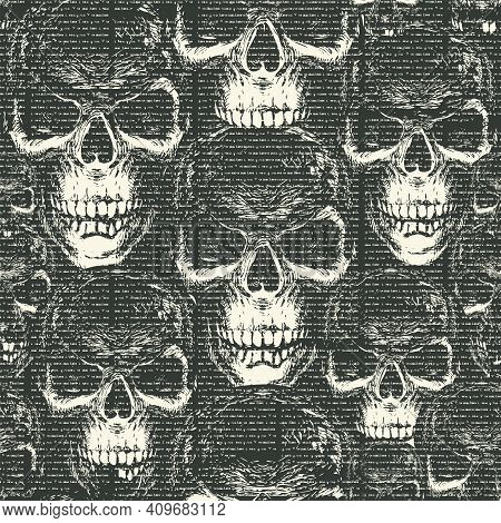 Vector Seamless Pattern With With Old Magazine Or Newspaper Columns On A Black Backdrop With Ominous