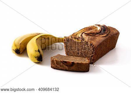 Homemade Banana Bread Isolated On White Background
