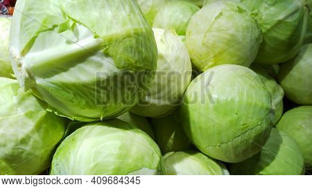 Pile Of White Cabbage. Vegetables Background. Brassica Oleracea. Capitata Cultivar Group. Farmers Ma