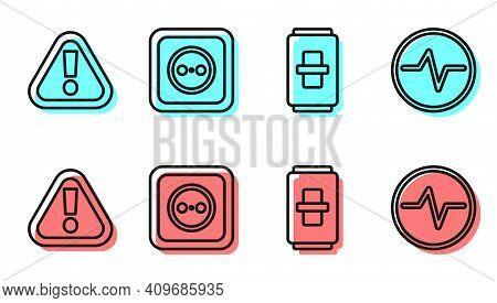 Set Line Electric Light Switch, Exclamation Mark In Triangle, Electrical Outlet And Electric Circuit