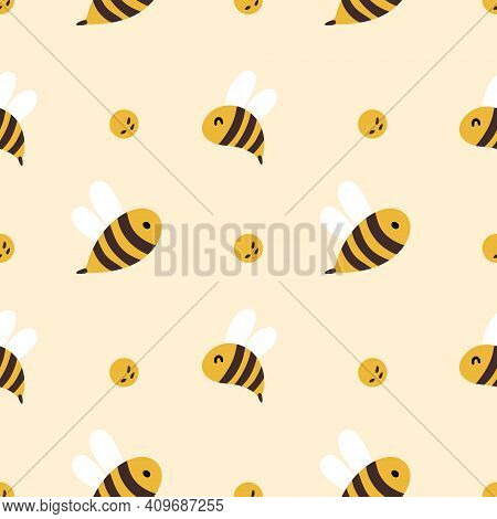 Honey Bee Kids Seamless Pattern, Cute Bumble Bee Digital Paper, Cartoon Summer Insects, Nursery Seam