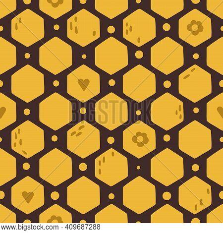 Honeycomb Kids Seamless Pattern, Cute Abstract Bee Digital Paper, Cartoon Summer Nursery Seamless Ba