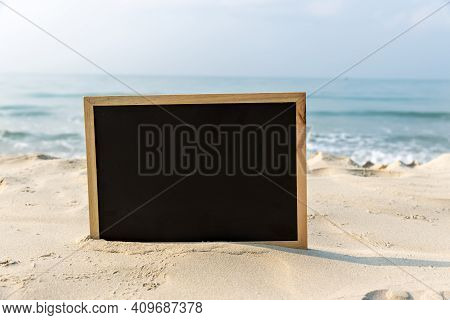 Chalkboard With A Wooden Frame Blank Chalk Board For Write Text, Message Or Advertising, Placed On T