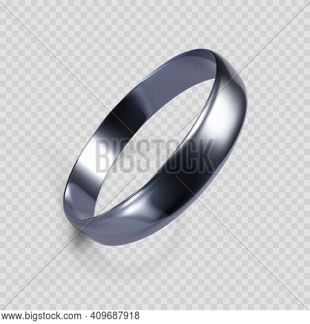 Realistic Ring From White Gold Or Silver. 3d Render Of Platinum Ring. Vector Illustration Isolated O