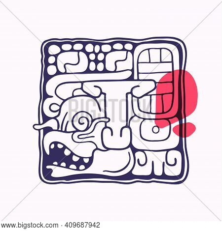 Aztec Style Letter T Initial. Native American Font With Vulture Or Eagle Face. You Can Use It In His