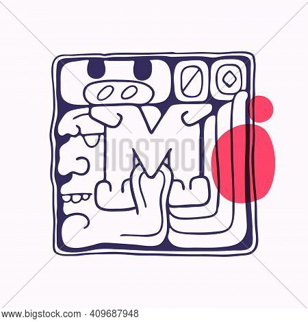 Aztec Style Letter M Initial. Native American Font With Warrior Or God Face. You Can Use It In Histo