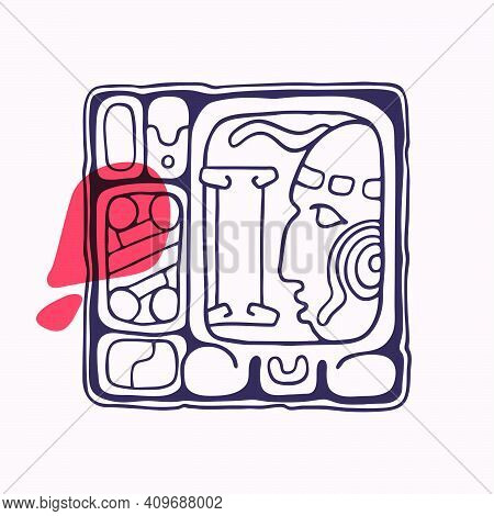 Aztec Style Letter I Initial. Native American Font With Warrior Or God Face. You Can Use It In Histo