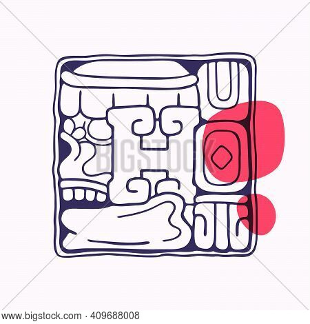 Aztec Style Letter H Initial. Native American Font With Skull Or God Face. You Can Use It In History