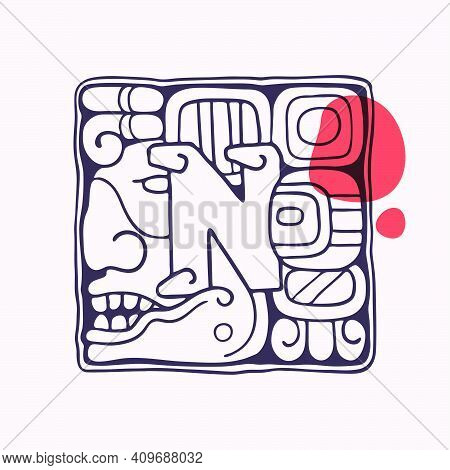 Aztec Style Letter N Initial. Native American Font With Warrior Or God Face. You Can Use It In Histo