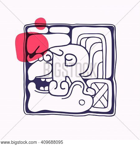 Aztec Style Letter R Initial. Native American Font With Warrior Or God Face. You Can Use It In Histo