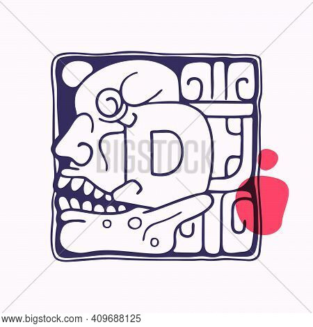 Aztec Style Letter D Initial. Native American Font With Skull Or God Face. You Can Use It In History