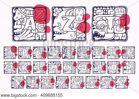 Aztec Style Initial Alphabet. Native American Font With Warrior, Conqueror, Skull, Vulture, And Leop