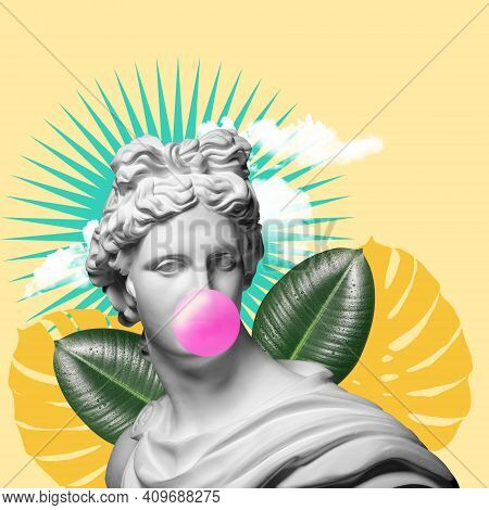 Modern Conceptual Art Colorful Poster With Ancient Statue Of Bust Of Apollo Replica. Collage Of Cont