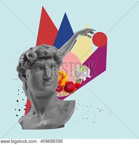 Collage With Davids Head Replica, Plaster Statue Bust Isolated On Bright Geometric Background. Copy