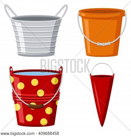Metal And Plastic Buckets Collection. Vector Cartoon Flat Set Of Pails With Water And Empty For Gard