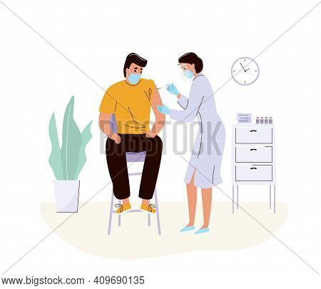 Coronavirus Vaccination Concept Vector Background. Woman Doctor Makes Injection Of Disease Vaccine T
