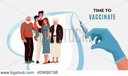 Family Vaccination Concept Vector Banner. Household With Elderly And Child Hugging Each Other In Hea