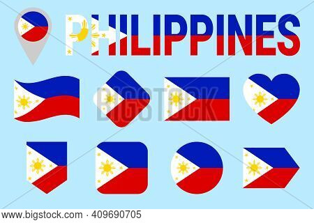 Philippines Flag Vector Set. Different Geometric Shapes With State Name. Flat Style. Simple Traditio