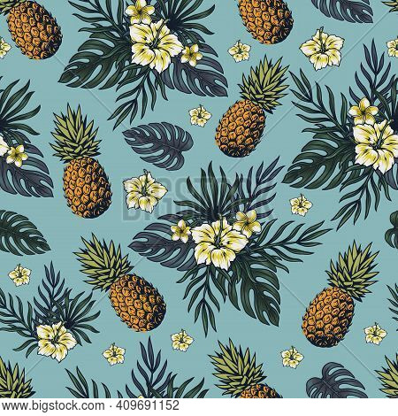 Tropical Colorful Vintage Seamless Pattern With Pineapples Frangipani And Hibiscus Flowers And Exoti