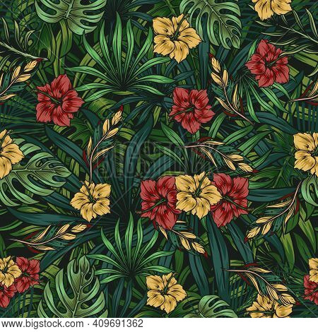 Tropical Floral Colorful Seamless Pattern With Beautiful Hibiscus Flowers Green Palm And Monstera Le
