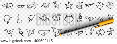 Origami Decorative Papers Doodle Set. Collection Of Hand Drawn Various Shapes Of Japanese Art Of Pap