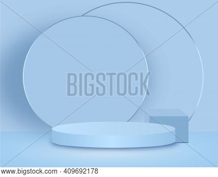 Background Vector 3d Blue Rendering With Podium And Marble Texture Wall Scene, Podium Product Minima