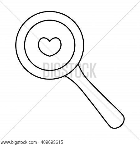 Loupe. Sketch. Searching For Love. Glass Instrument. Vector Illustration. Coloring Book For Children