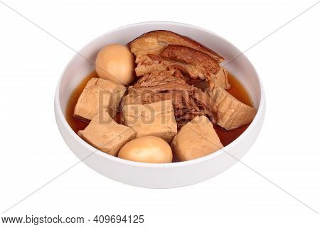 Stewed Boiled Egg With Tofu And Streaky Pork In Chinese Brown Soup.