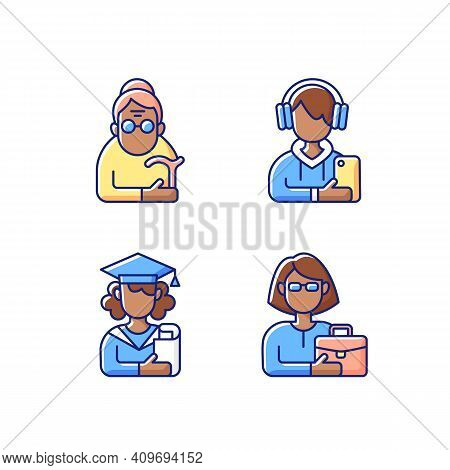 Age And Gender Differences Rgb Color Icons Set. Female Pensioner. Male Teenager. Adulthood. Senile W